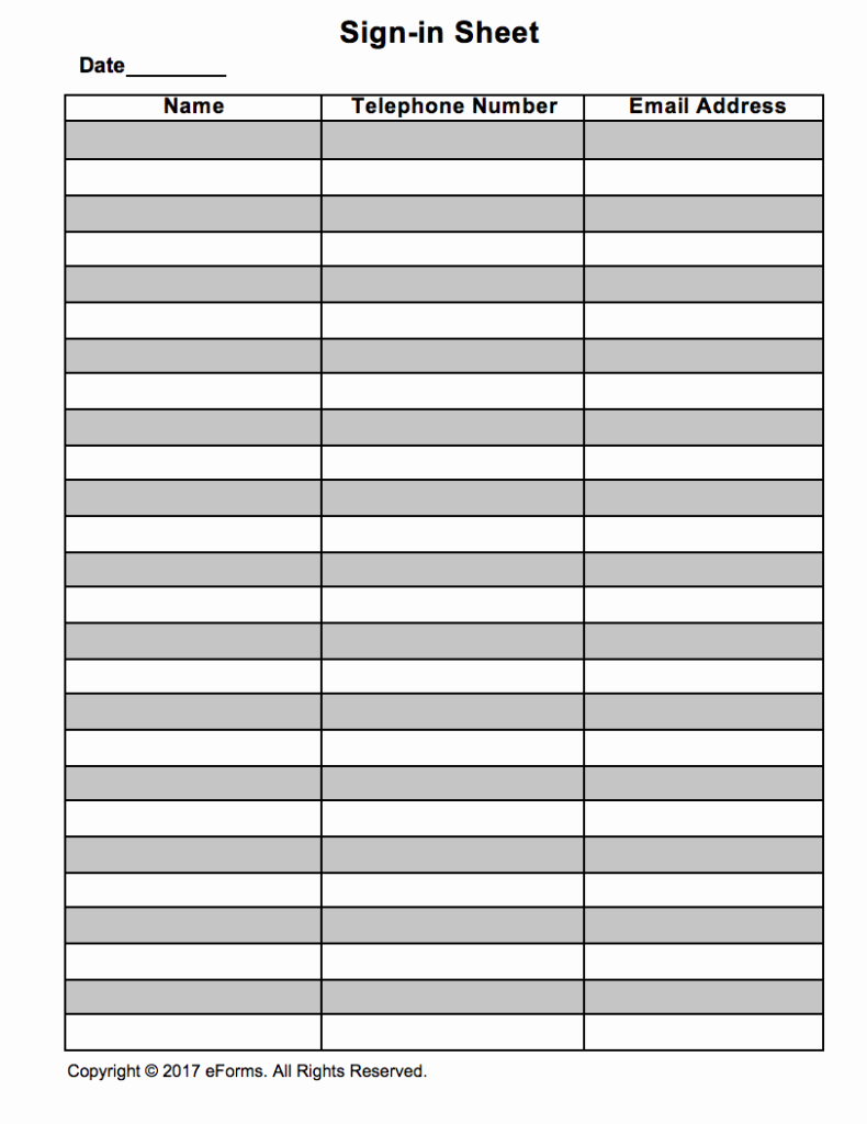 Blank Sign In Sheet Lovely attendance Guest Sign In Sheet Template