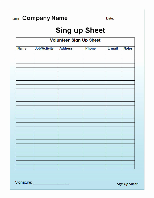 Blank Sign Up Sheet Lovely 23 Sample Sign Up Sheet Templates Pdf Word Pages Excel