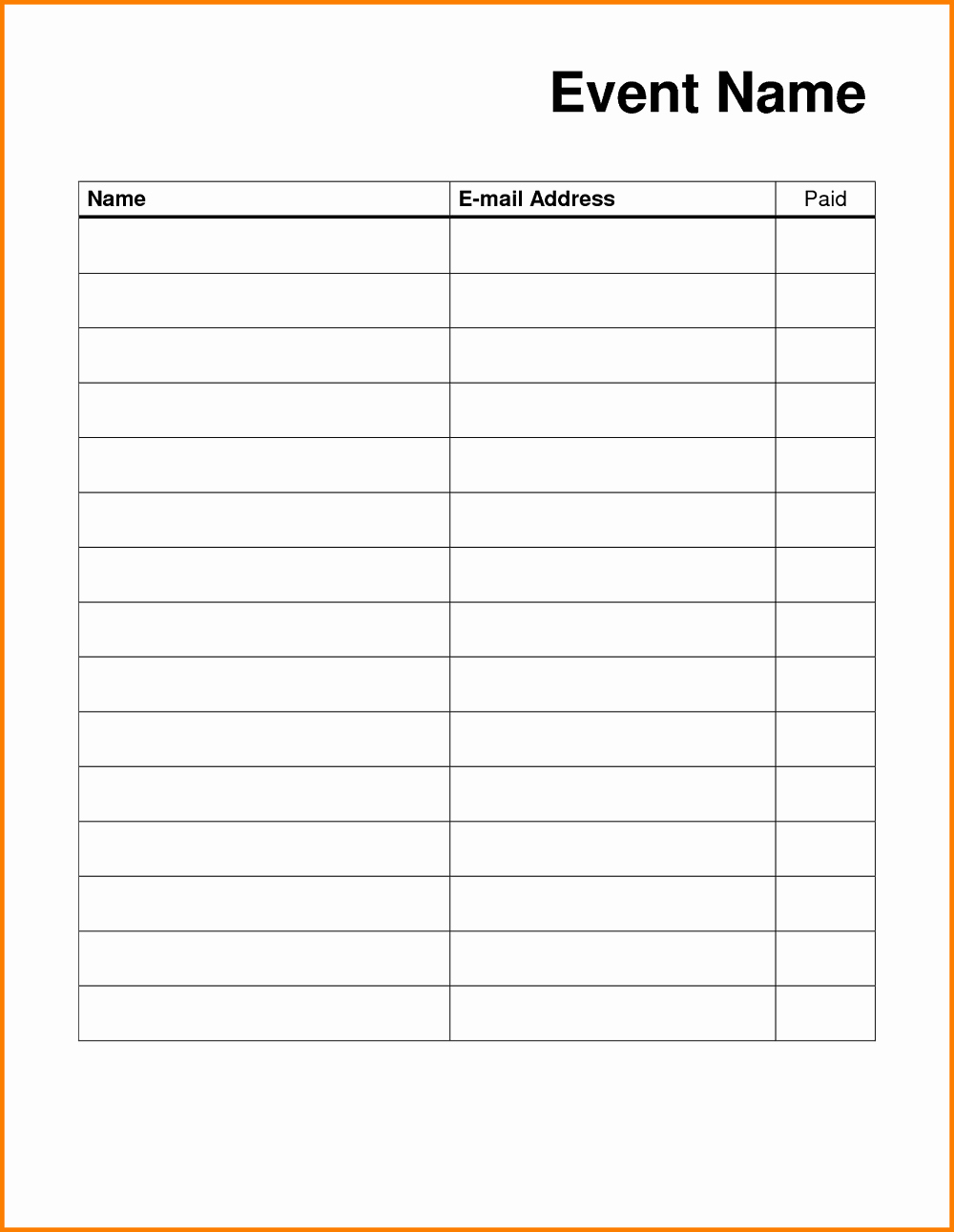 Blank Sign Up Sheet Unique Blank Sign Up Sheet Printable