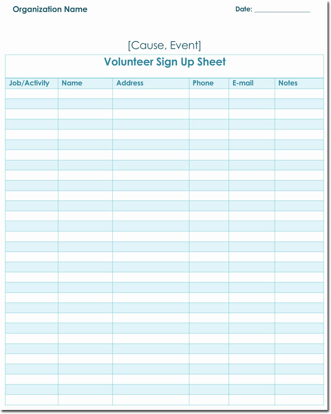 Blank Sign Up Sheet Unique Signup Sheet Templates 40 Sheets