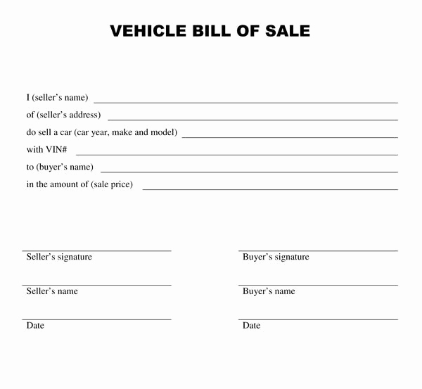 Blank Vehicle Bill Of Sale Beautiful Free Bill Of Sale Template
