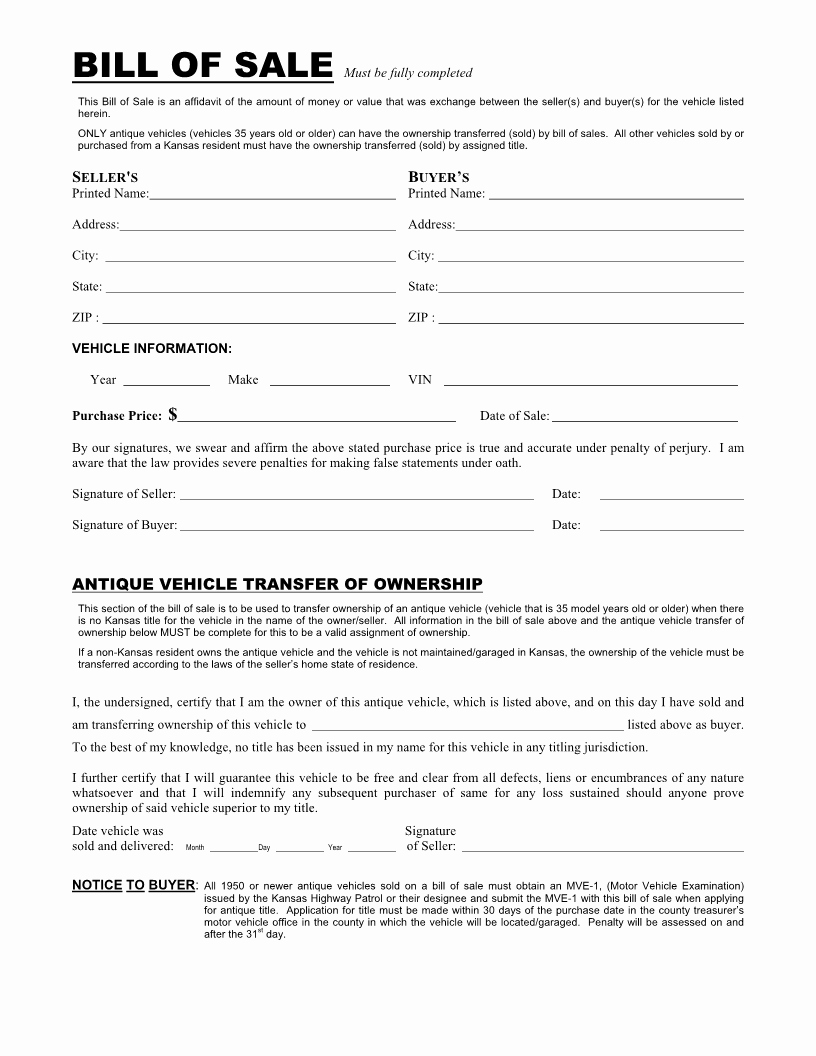 Blank Vehicle Bill Of Sale Elegant Free Kansas Vehicle Bill Of Sale form Download Pdf