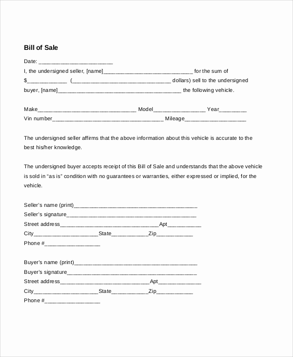Blank Vehicle Bill Of Sale Luxury 7 Sample Bill Of Sale for Cars