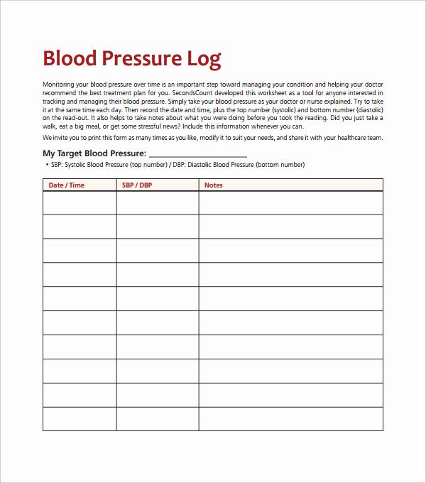 Blood Pressure Log for Patients Lovely Blood Pressure Log