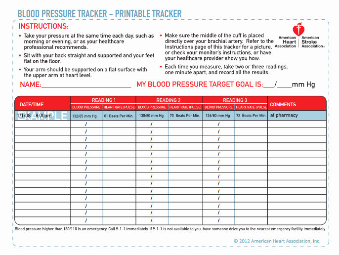 Blood Pressure Tracking Chart Best Of Inspired by Savannah February 2014