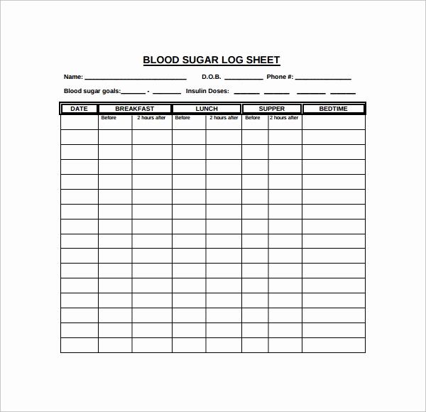 Blood Sugar Log Sheet Pdf Inspirational Sample Blood Sugar Log Template 8 Free Documents In Pdf