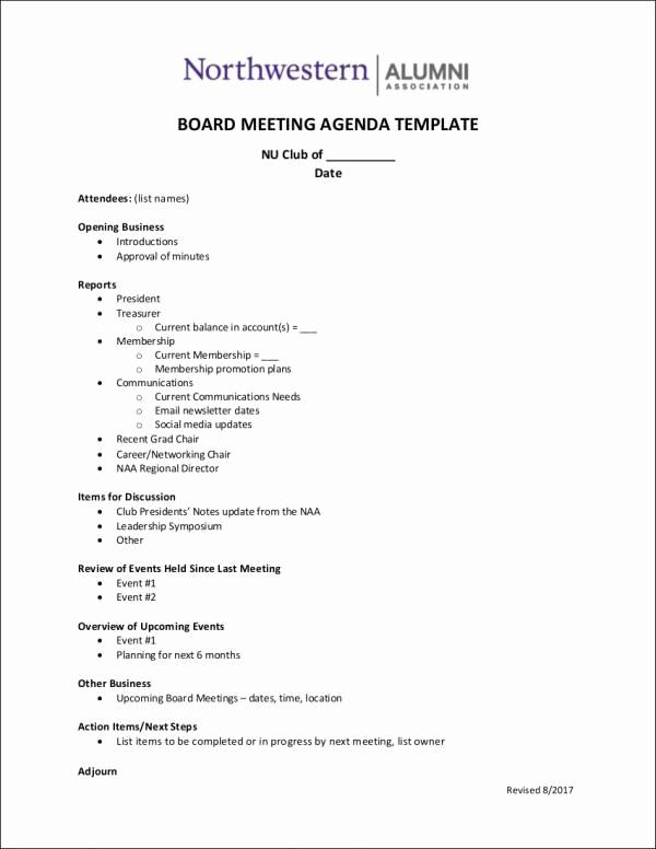 Board Meeting Agenda Template Best Of 10 Board Agenda Samples & Templates