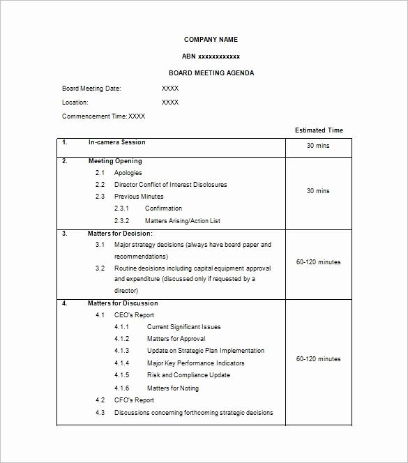 Board Meeting Agenda Template Fresh Agenda Template – 24 Free Word Excel Pdf Documents