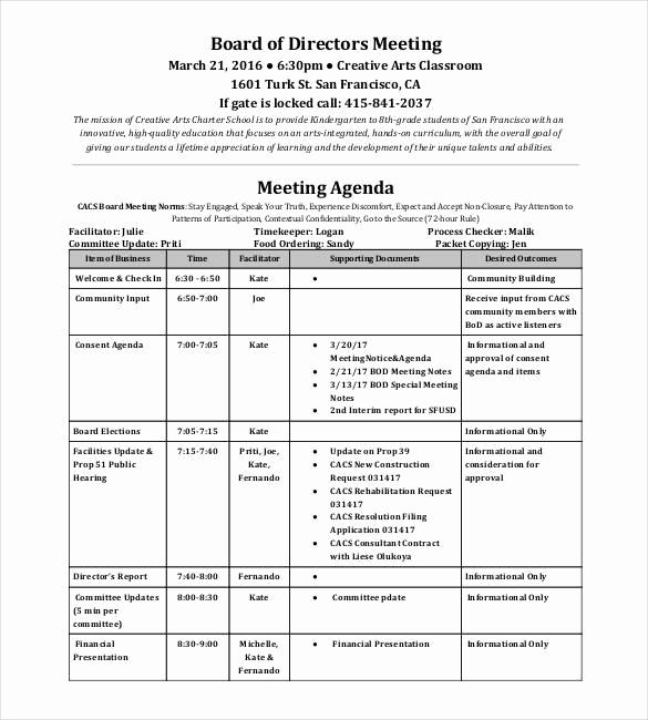 Board Meeting Agenda Template Inspirational 50 Meeting Agenda Templates Pdf Doc