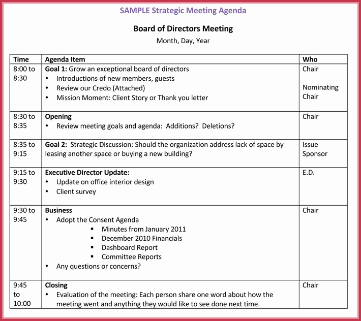 Board Meeting Agenda Template Inspirational Board Meeting Agenda Template 10 Free Samples formats