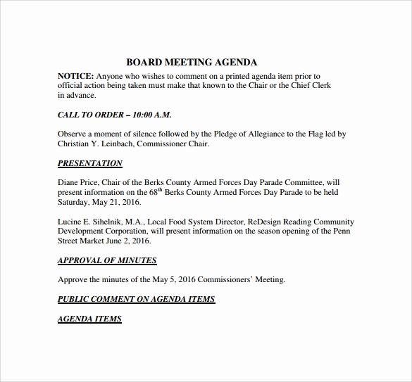 Board Meeting Agenda Template Luxury Board Meeting Agenda 11 Free Samples Examples format