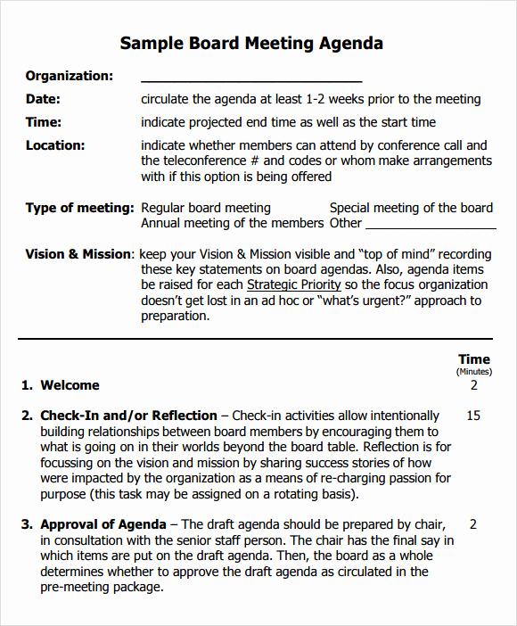Board Meeting Agenda Template Luxury Sample Board Meeting Agenda Template 11 Free Documents