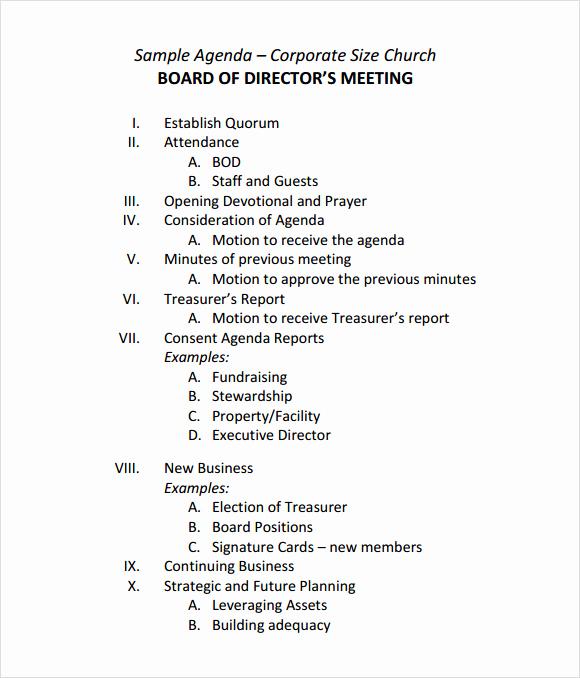 Board Meeting Agenda Template New Sample Board Meeting Agenda Template 11 Free Documents
