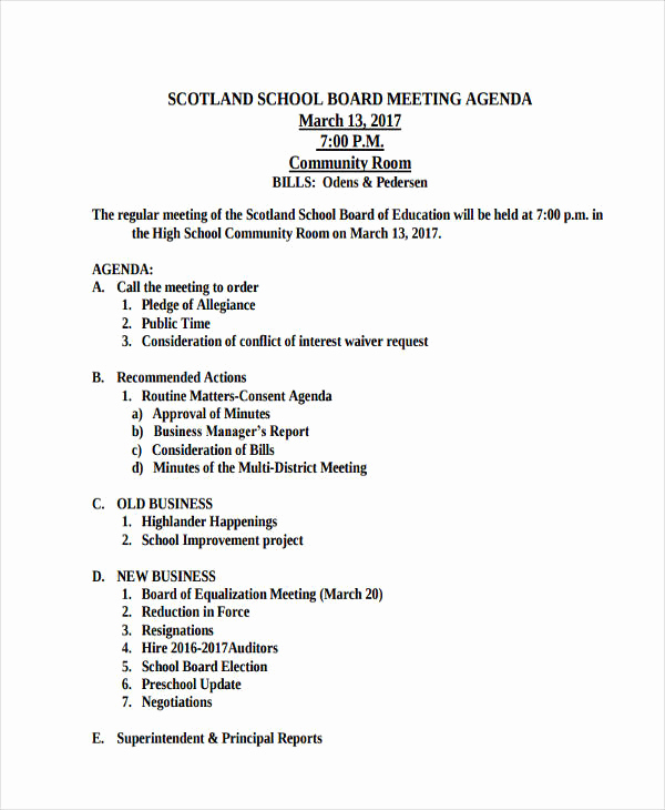Board Meeting Agenda Template Unique 46 Meeting Agenda Templates
