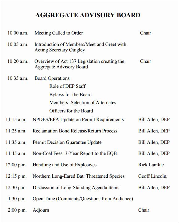 Board Meeting Agenda Template Unique Sample Board Meeting Agenda Template 11 Free Documents