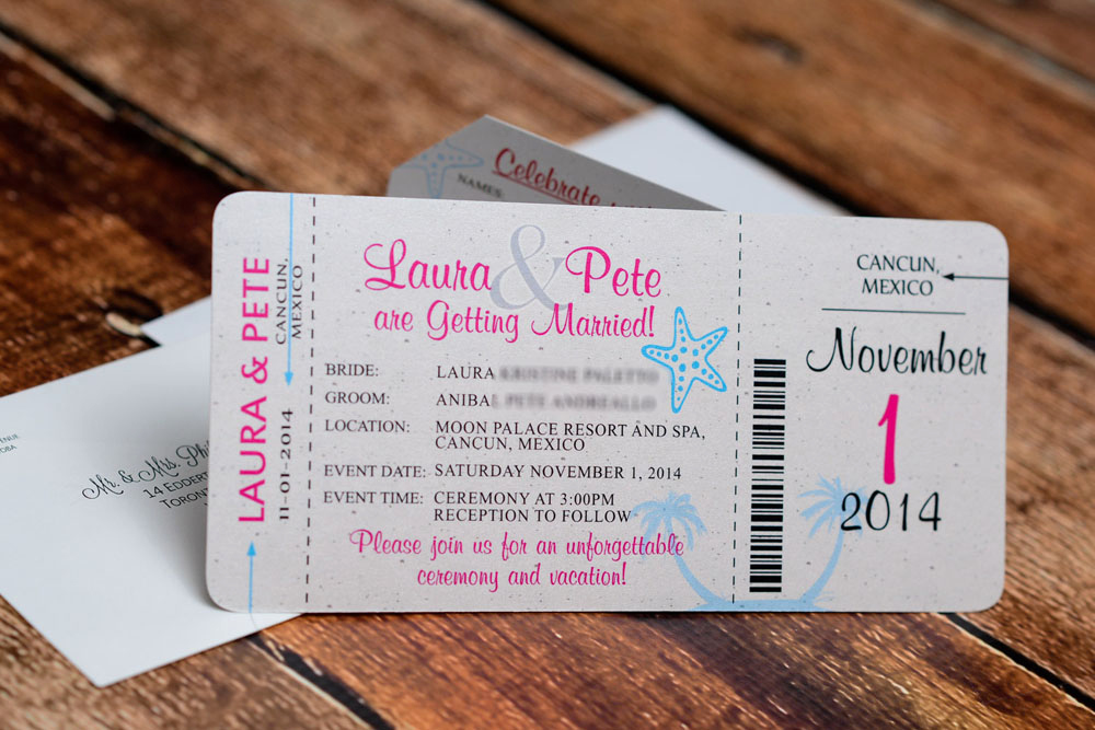 Boarding Pass Wedding Invitations Beautiful Neon Boarding Pass Wedding Invitations to Moon Palace