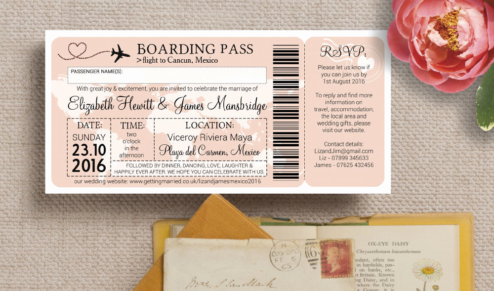 Boarding Pass Wedding Invitations Best Of Airline Boarding Pass Travel themed Wedding Invitation