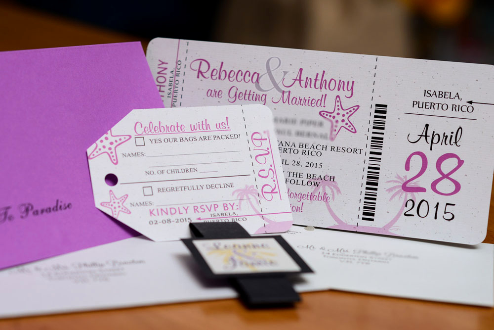 Boarding Pass Wedding Invitations Fresh Purple Boarding Pass Wedding Invitations to Puerto Rico