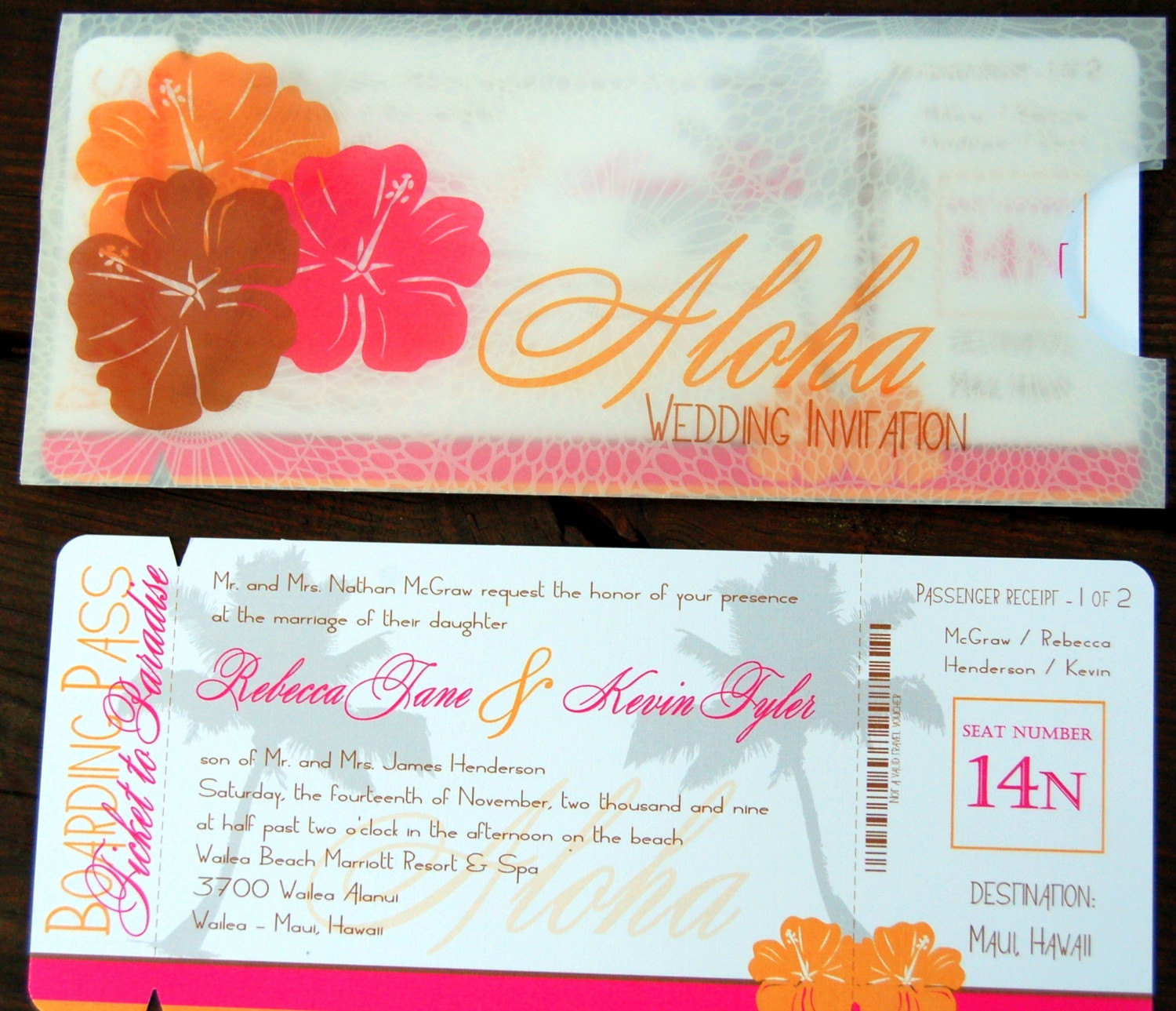 Boarding Pass Wedding Invitations Inspirational Aloha Palm Tropical Boarding Pass Wedding Invitations