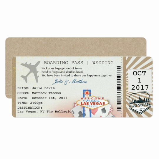 Boarding Pass Wedding Invitations Lovely Boarding Pass Las Vegas Wedding Invitation