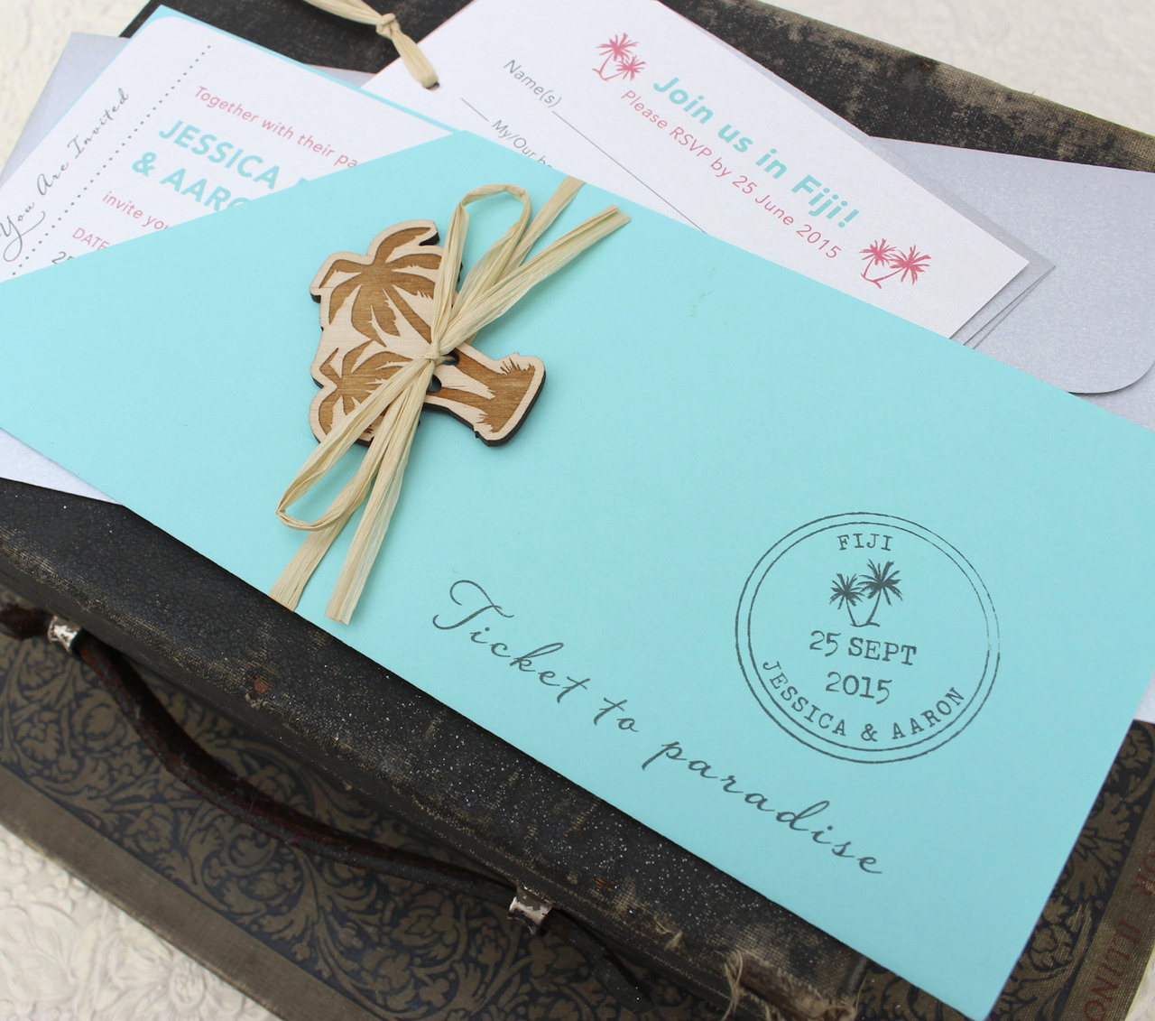 Boarding Pass Wedding Invitations Lovely Tropical Palm Tree Boarding Pass Wedding Invitation Figi