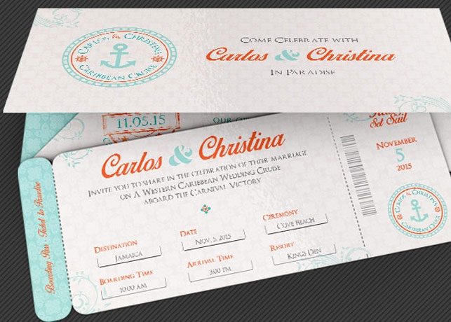 Boarding Pass Wedding Invitations Luxury Wedding Cruise Boarding Pass Invitation Template