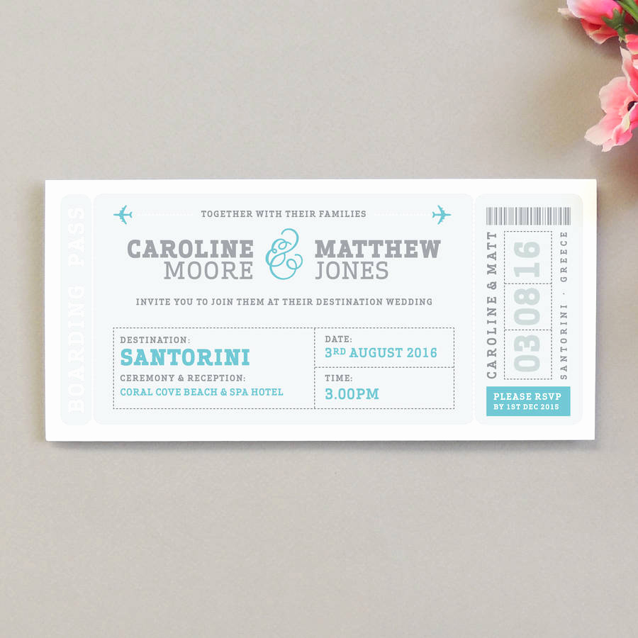 Boarding Pass Wedding Invitations New Airline Boarding Pass Wedding Invitation by Project Pretty