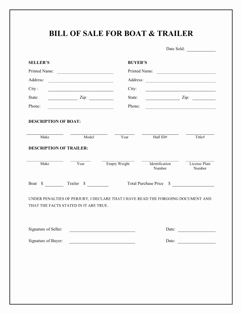 Boat Bill Of Sale form Beautiful Free Boat & Trailer Bill Of Sale form Download Pdf