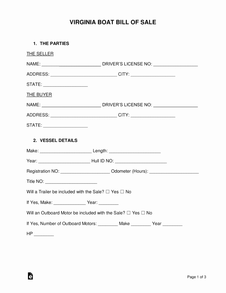 Boat Bill Of Sale form Best Of Free Virginia Boat Bill Of Sale form Word Pdf
