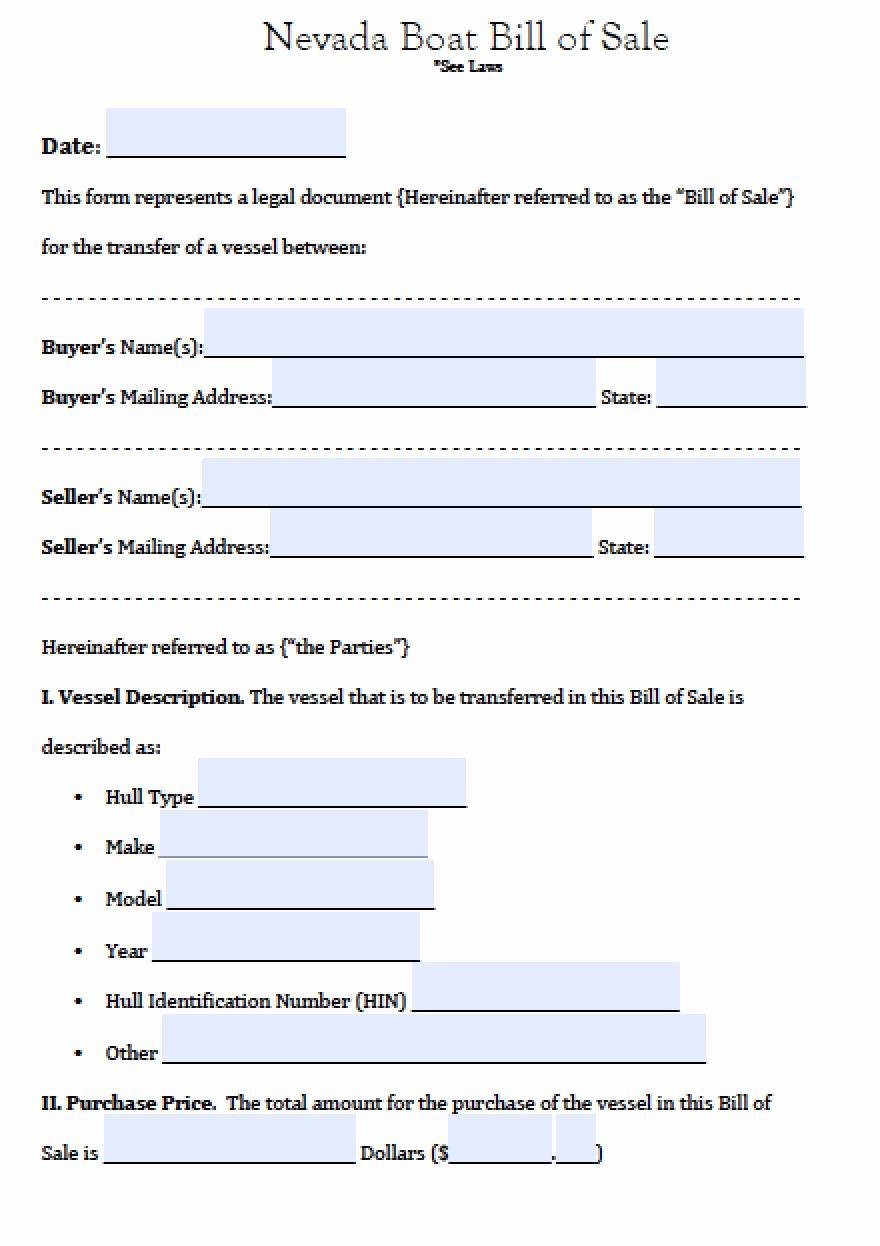 Boat Bill Of Sale form Elegant Free Nevada Boat Bill Of Sale form Pdf