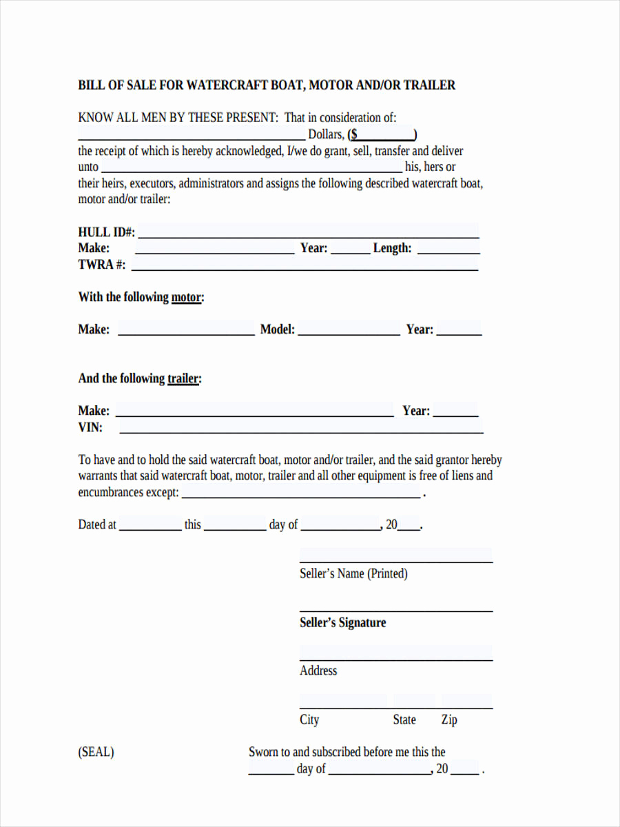 Boat Bill Of Sale form Fresh 6 Boat Bill Of Sale form Sample Free Sample Example