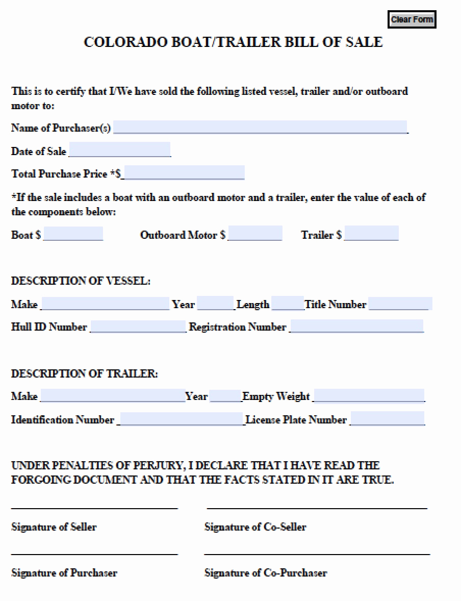 Boat Bill Of Sale form Inspirational Free Colorado Boat Trailer Bill Of Sale form Pdf