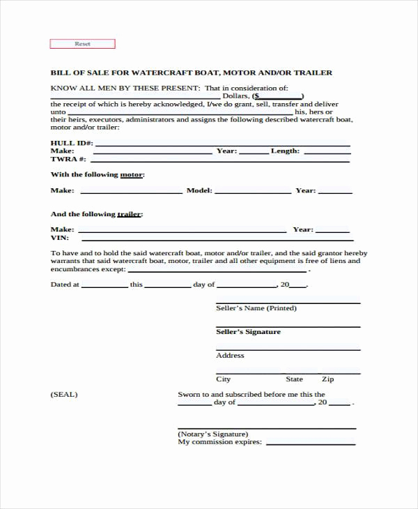 Boat Bill Of Sale form New 33 Bill Of Sale forms In Pdf