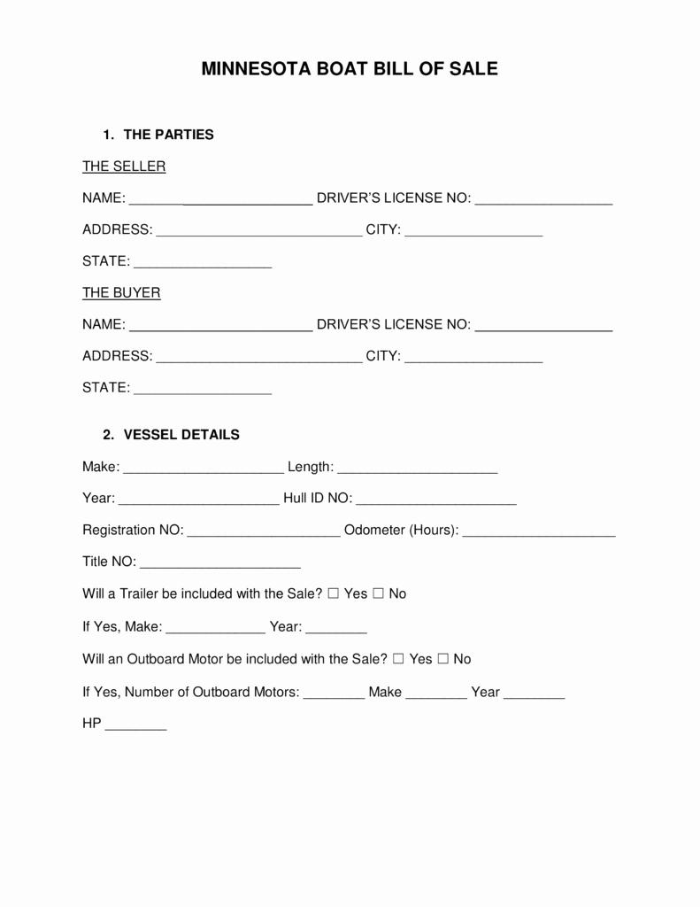 Boat Bill Of Sale form New Free Minnesota Boat Bill Of Sale form Word
