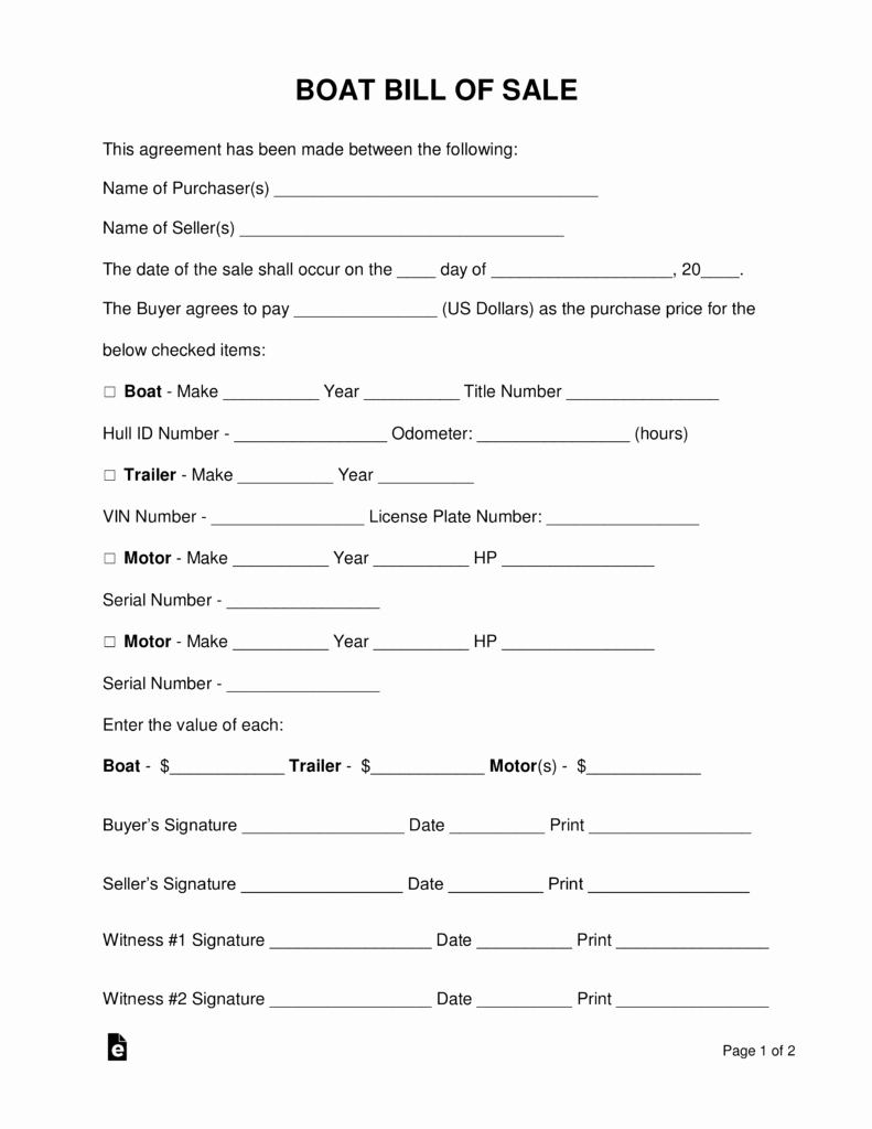 Boat Bill Of Sale form Unique Free Boat Vessel Bill Of Sale form Pdf Word