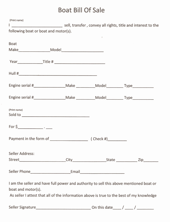 Boat Bill Of Sale form Unique Free Printable Boat Bill Sale form Generic