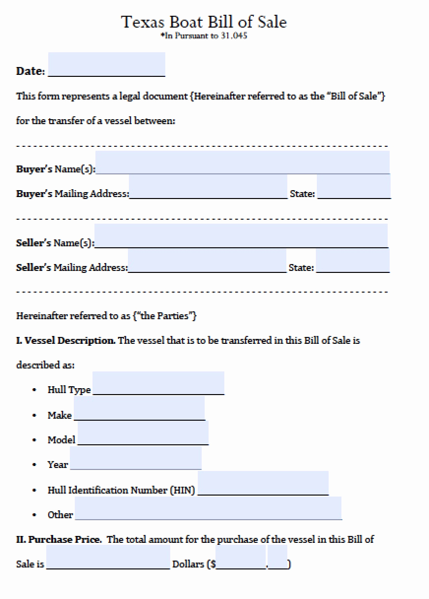 Boat Bill Of Sale form Unique Free Texas Boat Bill Of Sale form Pdf