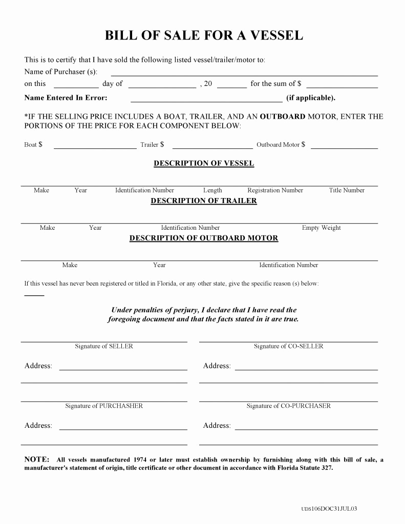 Boat Bill Of Sale Template Best Of Free Florida Boat Bill Of Sale form Pdf