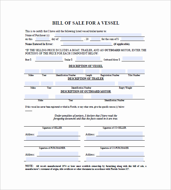 Boat Bill Of Sale Template Fresh Boat Bill Of Sale – 8 Free Word Excel Pdf format