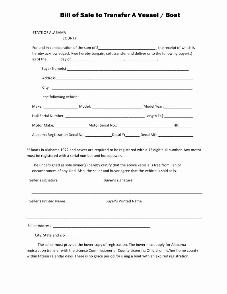 Boat Bill Of Sale Template Unique Free Alabama Boat Bill Of Sale form Pdf