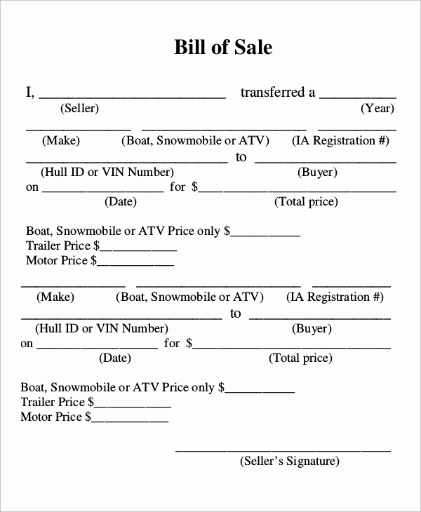 Boat Trailer Bill Of Sale Lovely Sample Boat Bill Of Sale 7 Examples In Pdf
