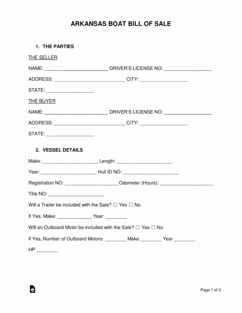 Boat Trailer Bill Of Sale New Free Arkansas Boat Bill Of Sale form Pdf Word