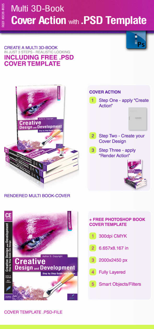 Book Cover Template Photoshop Unique Multi 3d Book Cover Action with Psd Template by Ricci Gdf