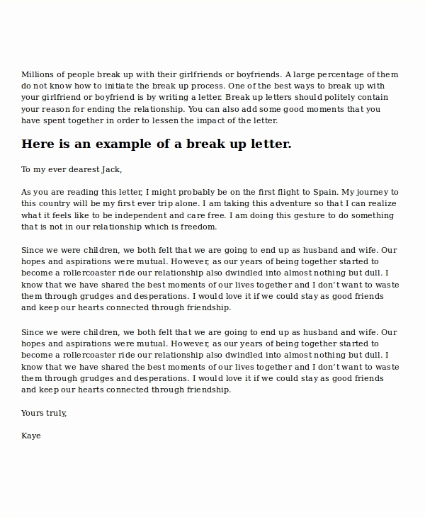 Break Up Letter to Boyfriend Awesome Break Up Letter Template 5 Free Word Pdf Document