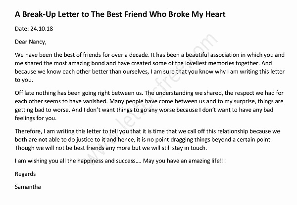 Break Up Letter to Boyfriend New Sample Break Up Letter to Lover Free Letters