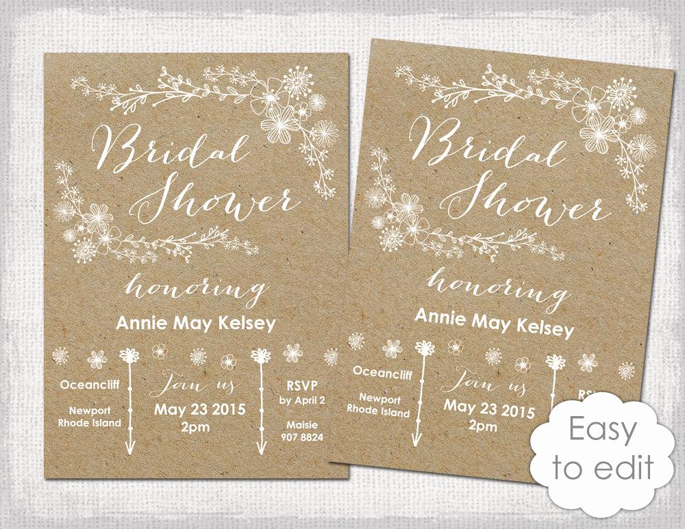 Bridal Shower Invitation Template Beautiful Bridal Shower Invitation Template Rustic Printable Templates