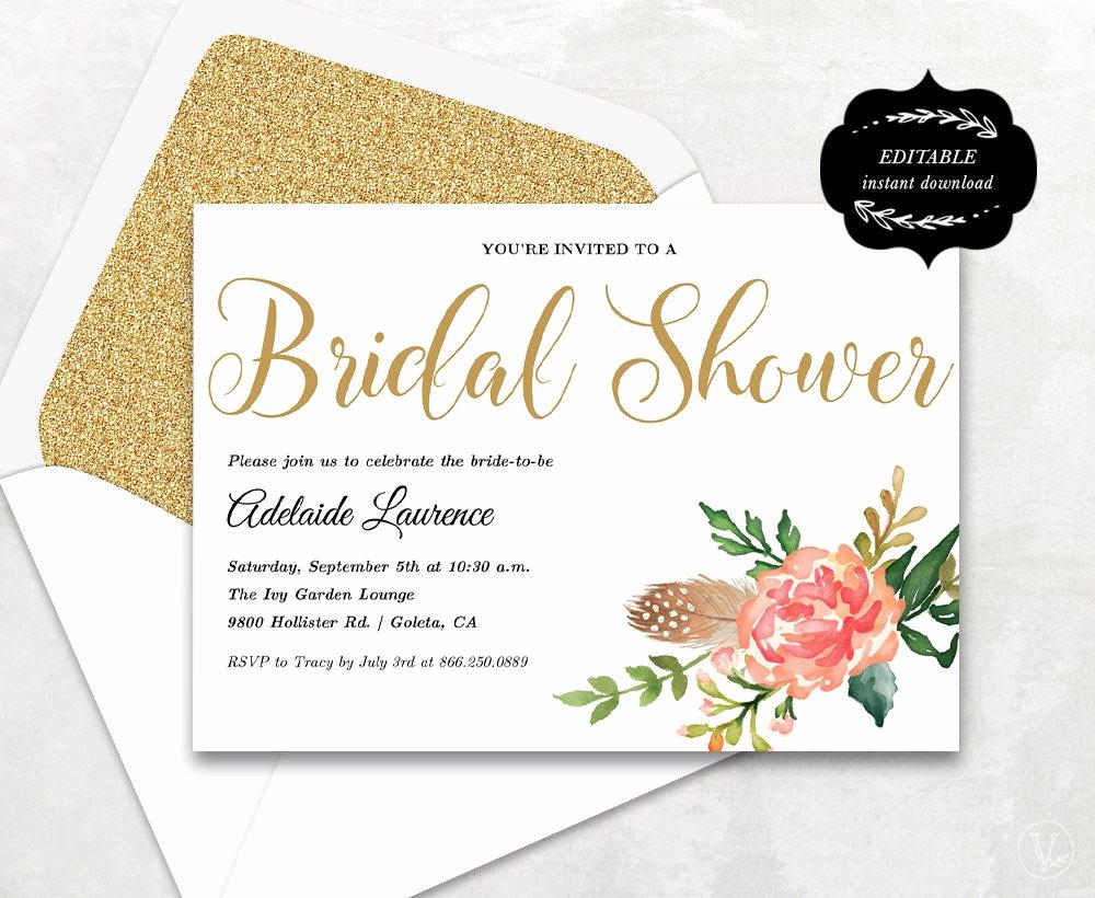 Bridal Shower Invitation Template Best Of Bridal Shower Template Printable Bridal Shower Invitation