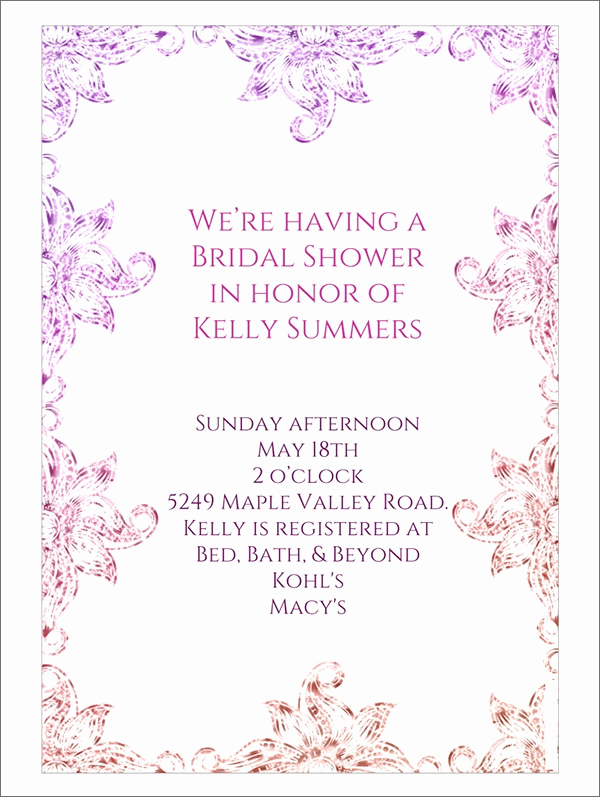 Bridal Shower Invitation Template Unique 30 Best Bridal Shower Invitation Templates