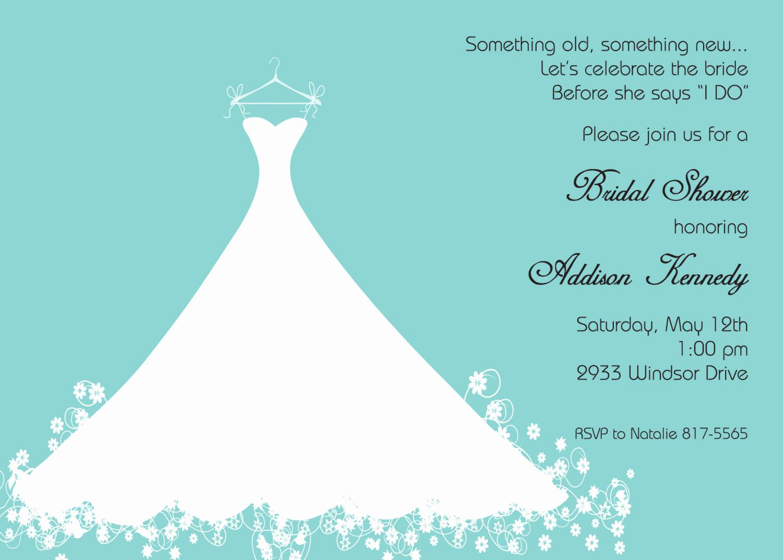 Bridal Shower Invitation Template Unique Bridal Shower Invitation Aqua Blue Wedding Gown Printed