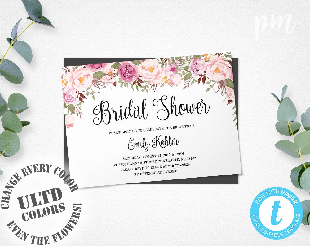 Bridal Shower Invite Template Best Of Floral Bridal Shower Invitation Template Printable Bridal
